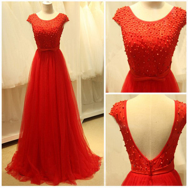 Red Prom Dress with Pearls pst0457