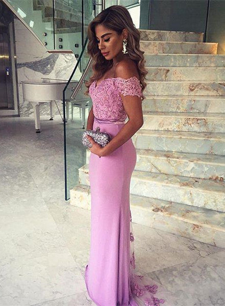 Mermaid Prom Evening Dress with Off The Shoulder Straps pst0463