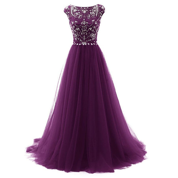 Purple Evening Dress with Cap Sleeves and Beaded Top pst0476