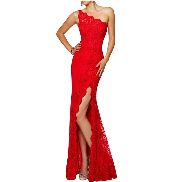 Red Lace Prom Dress For Party with High Slit pst0482