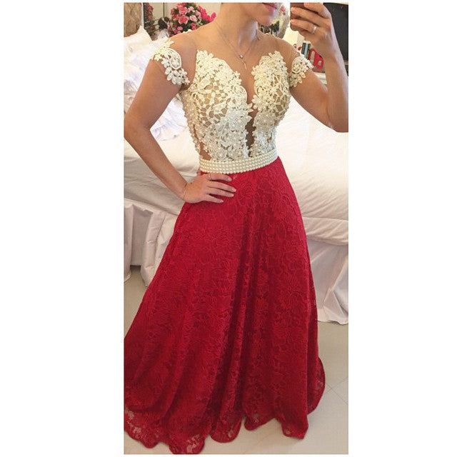Elegant Ivory and Red Prom Dress with Pearls pst0492