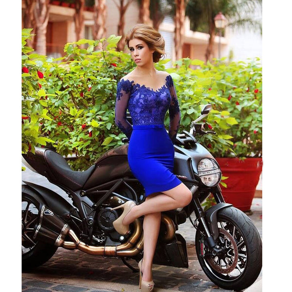 Royal Blue Short Dress for Prom Party with Sleeves pst0502