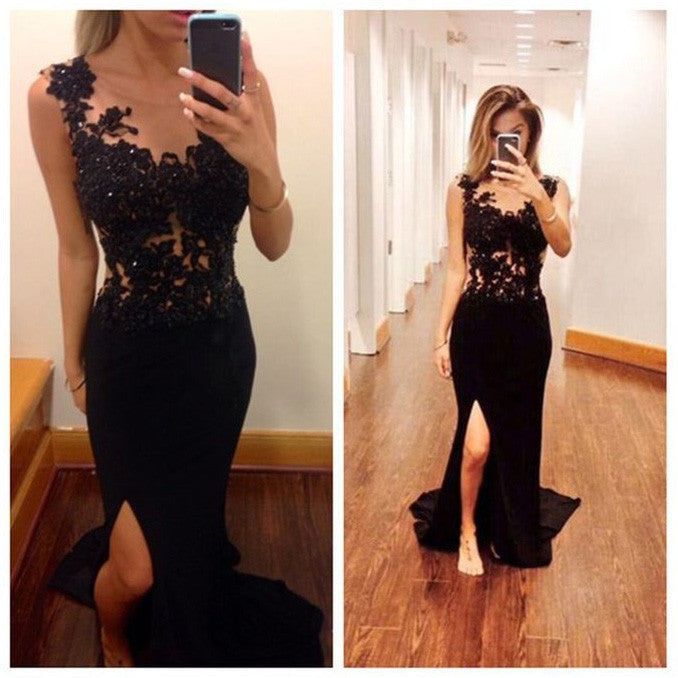 Black Prom Dress With Slit pst0515