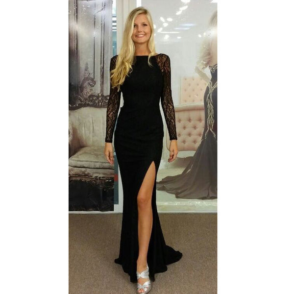 Black Cocktail Dress Prom Evening Dresses with Slit pst0521