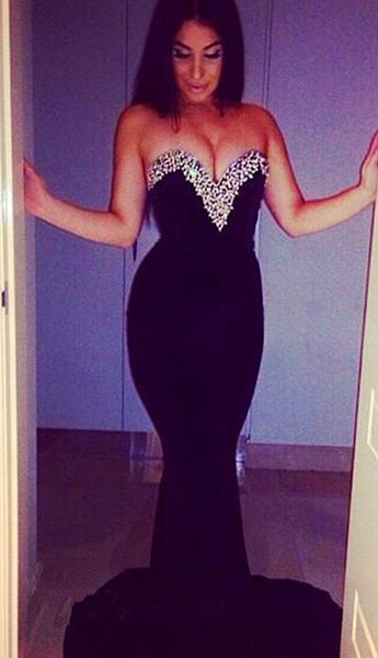 Mermaid Prom Party Dress in Black with Sweetheart Neckline pst0528