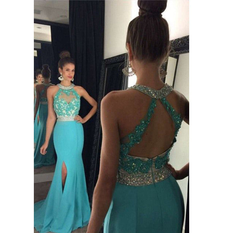 Halter Strap Prom Evening Dress With Slit pst0539