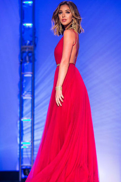 Red Long Prom Dress with Open Back pst0553