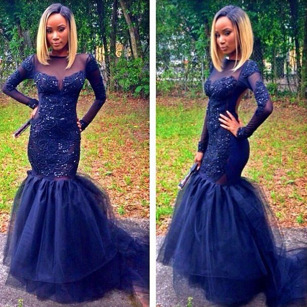 Fitted And Flared Navy Prom Dress with Long Sleeves pst0562