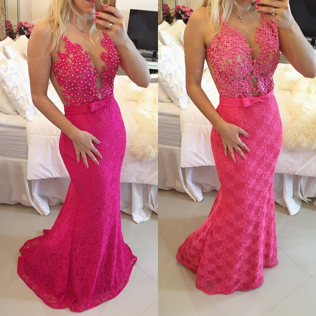 Fuchsia and Pink Prom Evening Dress in Lace pst0576