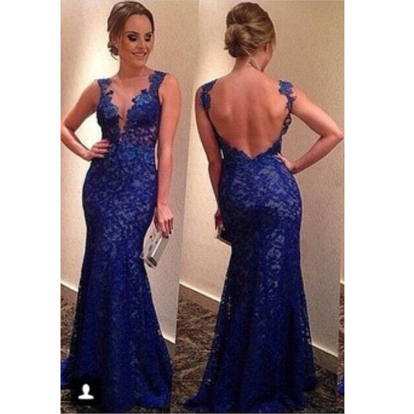 Mermaid Lace Prom Dress Evening Gown pst0589