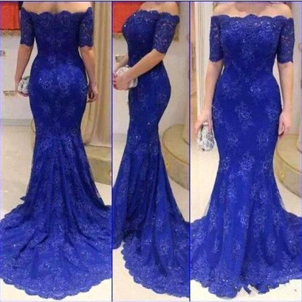 Royal Blue Lace Prom Dress Evening Gown With Half Sleeves pst0603