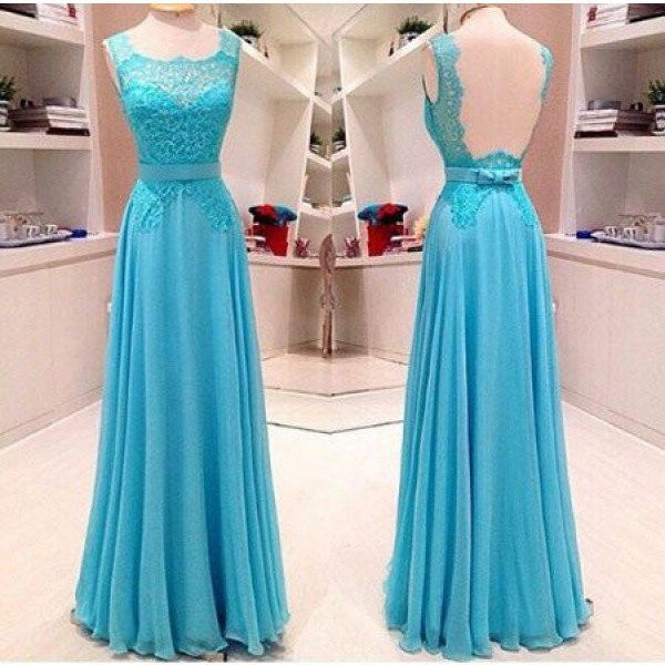 Illusion Back Long Prom Evening Dress pst0610
