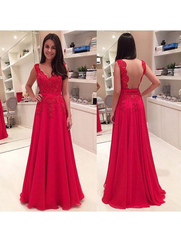 Illusion Back Red Long Prom Evening Dress pst0616