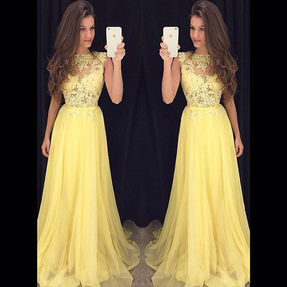 Yellow Prom Dress Cocktail Party Dress Long To Floor pst0624