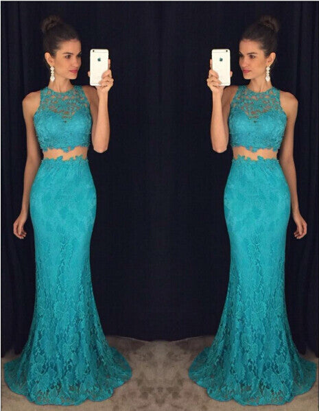 Long Lace Prom Dress Evening Dress in 2 Pieces pst0633