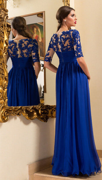 Royal Blue Prom Dress Evening Party Dress With Sleeves pst0634