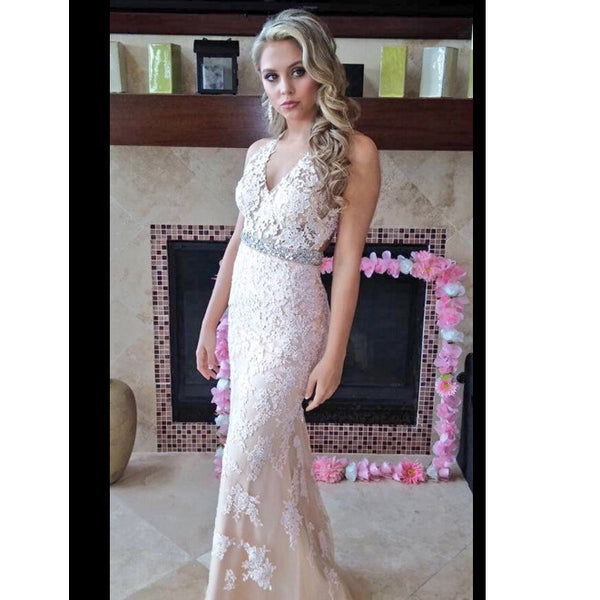 Lace Prom Dress Long To Floor With Halter Neckline pst0652