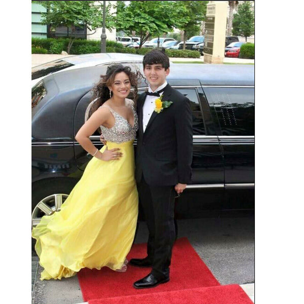 Yellow Prom Dress With Stones V Neckline pst0655