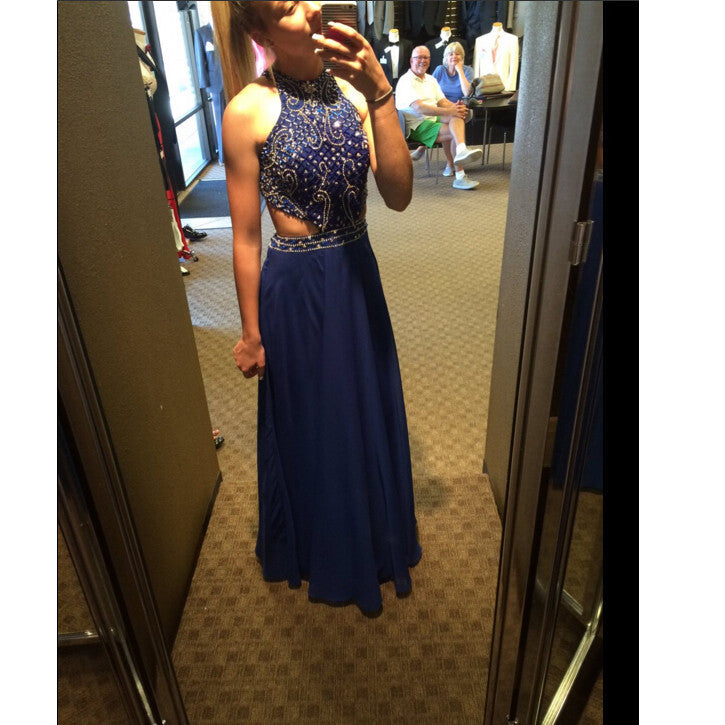 Halter Long Prom Dress In Blue Color pst0659