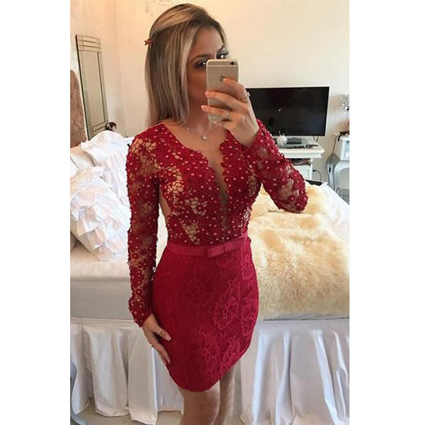 Short Prom Dress With Long Sleeves pst0661