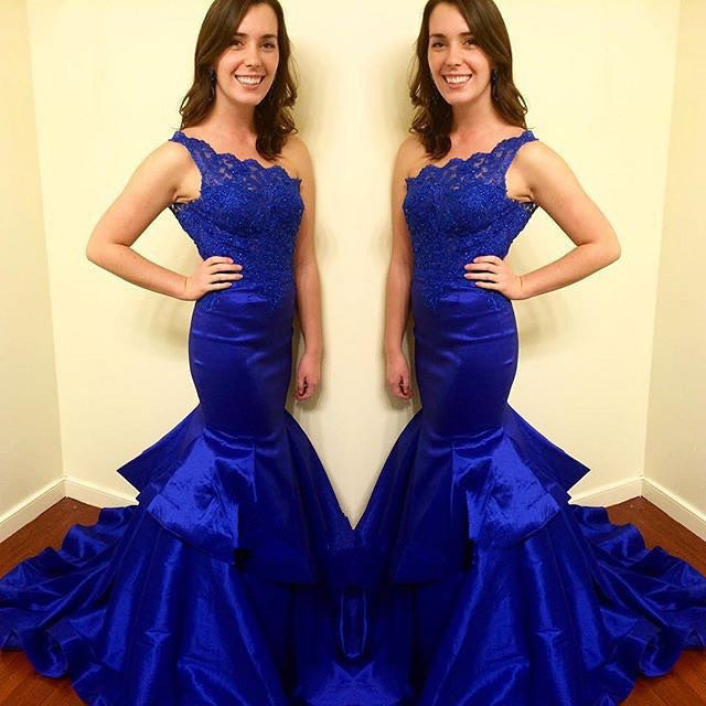 Fitted Royal Blue Prom Dress With Single Strap pst0666