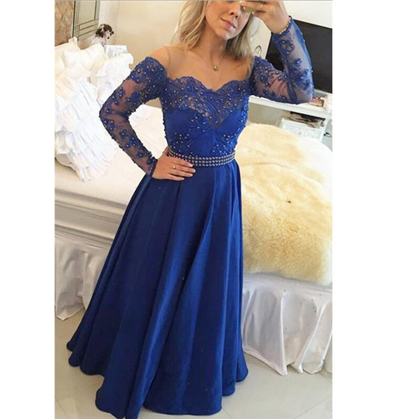 Royal Blue Prom Dress With Sleeves Party Gown pst0668