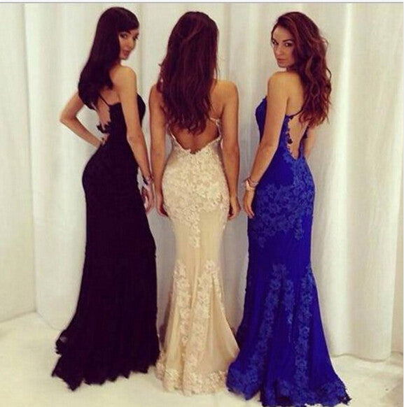 Sexy Backless Royal Blue Lace Prom Dress Evening Party Dress pst0672