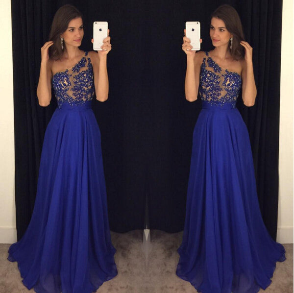 Royal Blue Color Prom Dress Evening Party Gown pst0689