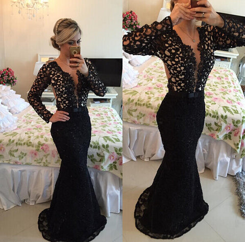 Black Lace Prom Dress Mermaid Evening Gown pst0705