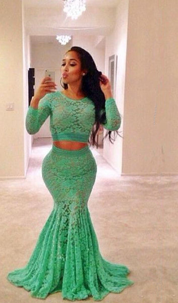Green Color Mermaid Lace Prom Dress Evening Party Gown pst0708
