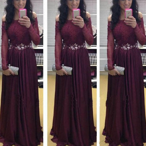 Burgundy Prom Dress With Sleeves Evening Gown pst0718