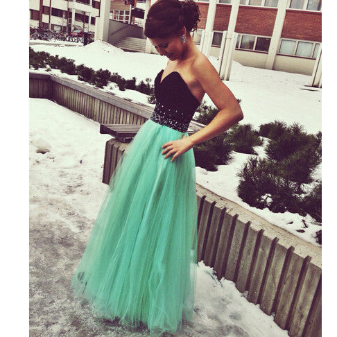 Black And Green Prom Dress Sweetheart Neckline Evening Party Dresses pst0721