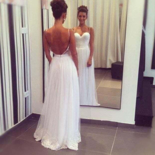 Sexy Backless White Prom Dress Evening Party Dresses Sweetheart Neck With Thin Straps pst0724