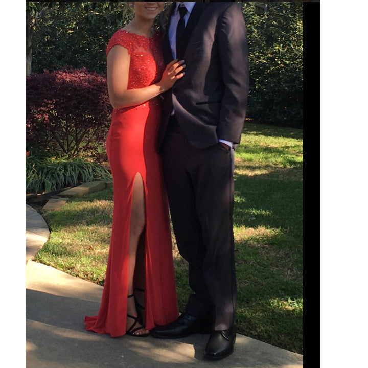Two Pieces Red Prom Dress With Slit Evening Party Gown pst0737