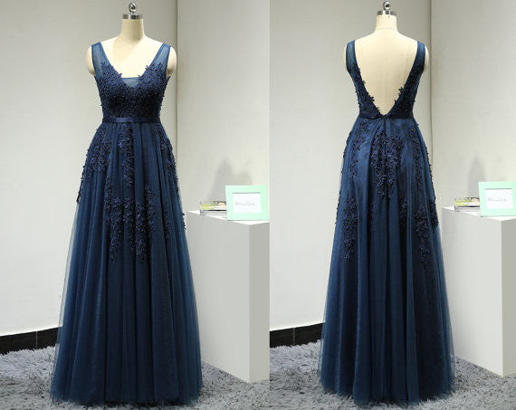Navy Prom Dress Evening Party Gown pst0781
