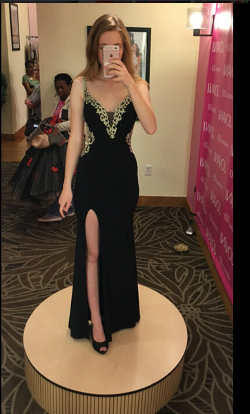 Sexy Black Prom Dress Evening Party Dress With Slit pst0802