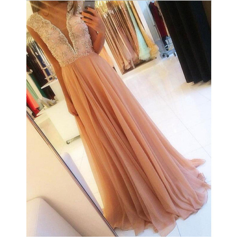 Deep V Neckline Prom Dress Evening Party Gown pst0820