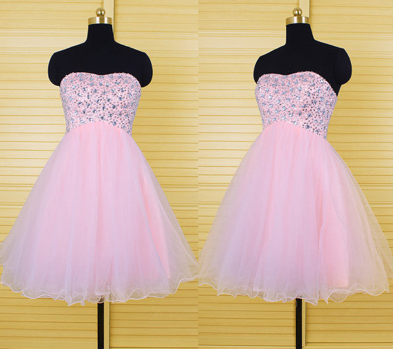 pink Homecoming Dress Short Party Dresses pst0843