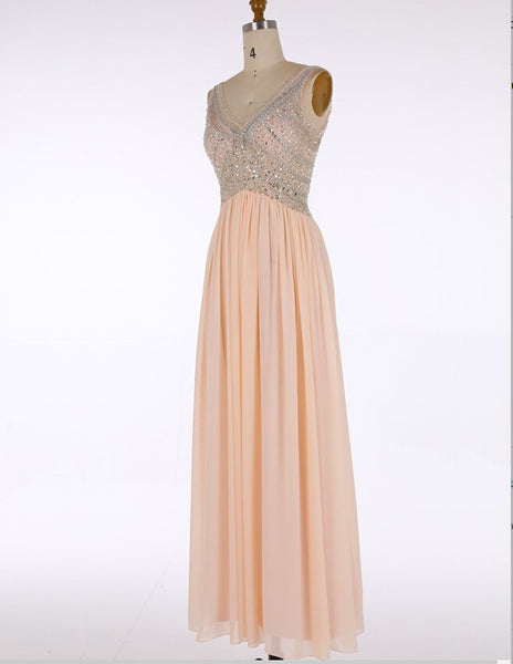 Prom Dress With Beading And Stones Deep V Neckline Evening Gown pst0860