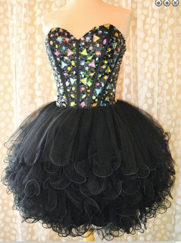 Black Homecoming Dress Short Prom Dress pst0877