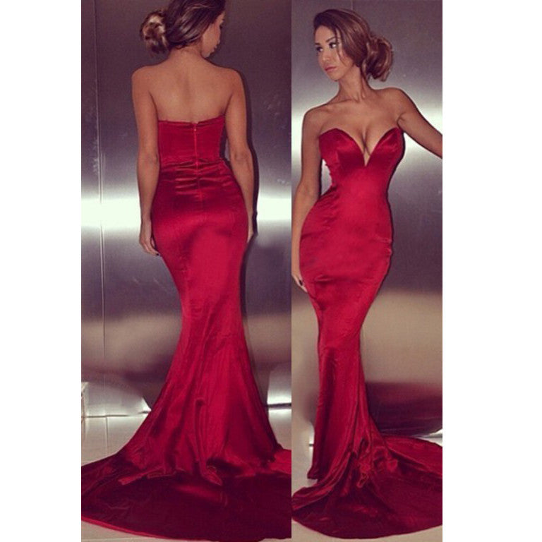 Sexy Mermaid Prom Dress Red Prom Dresses pst0909