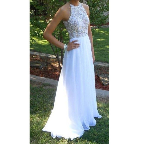 High Neck Prom Dresses Long Evening Party Gown pst0942
