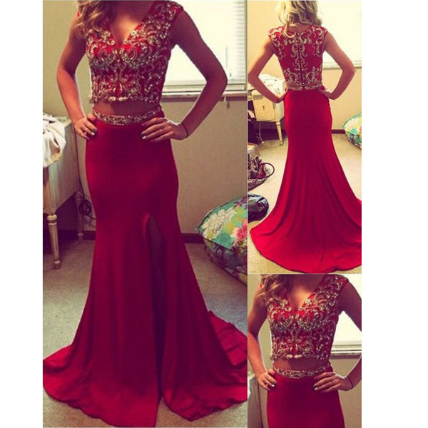 Red Prom Dresses Two Pieces Evening Party Gown pst0952