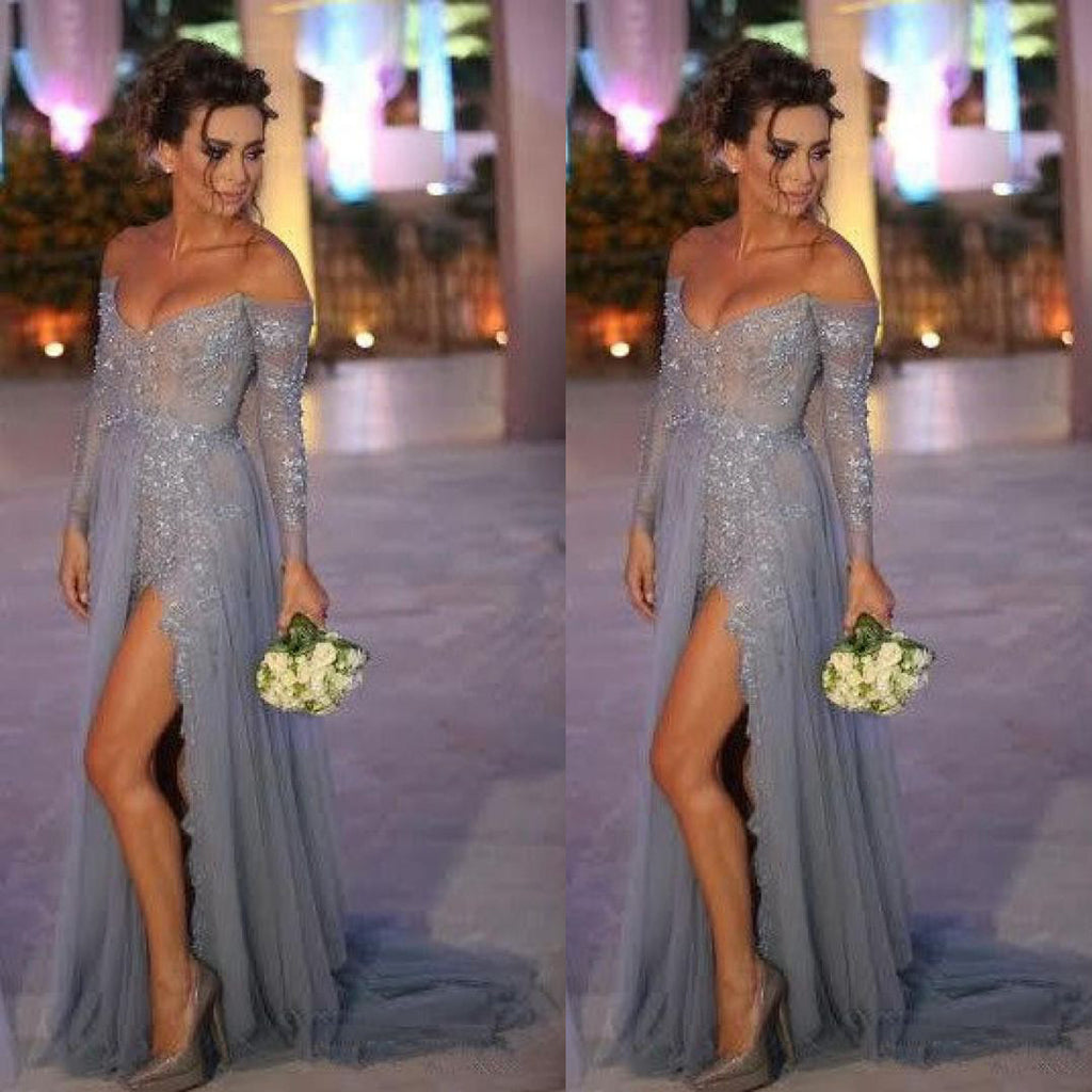 Sexy Prom Dress With High Slit Off The Shoulder Sleeves Evening Party Gown pst0992