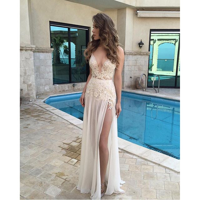 Sexy Prom Dress With High Slit Cocktail Party Dresses pst1015