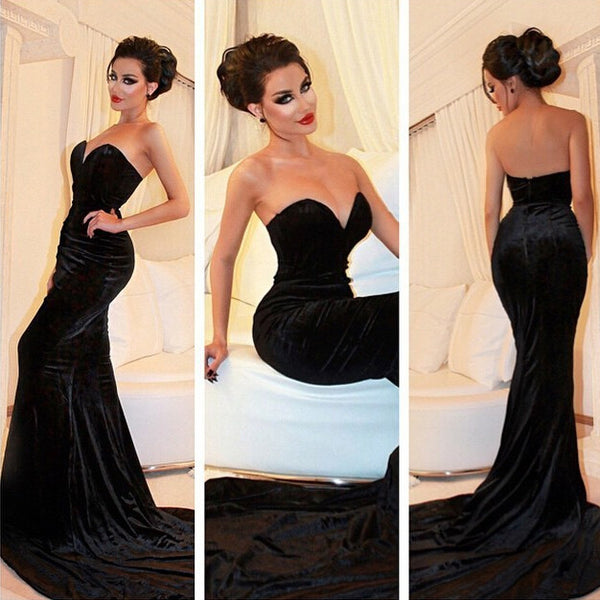 Mermaid Prom Dress Black Evening Party Gown pst1020