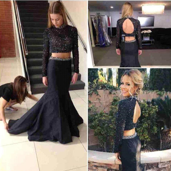Two Pieces Prom Dress With Long Sleeves Party Dresses pst1024