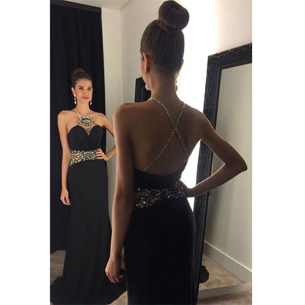 Black Prom Dress With Cross Back Straps Evening Party Gown pst1025