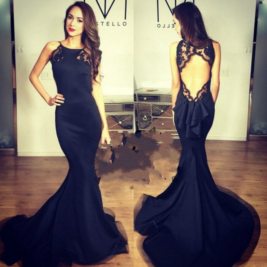 Backless Mermaid Prom Dress Black Evening Party Gown pst1026