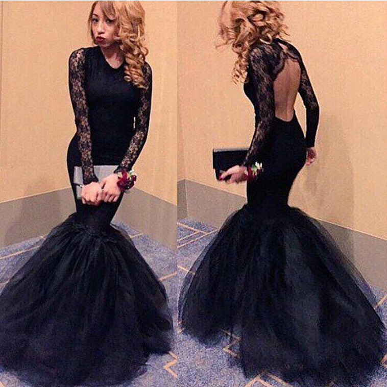 Black Mermaid Prom Dresses Evening Party Gown With Sleeves pst1027